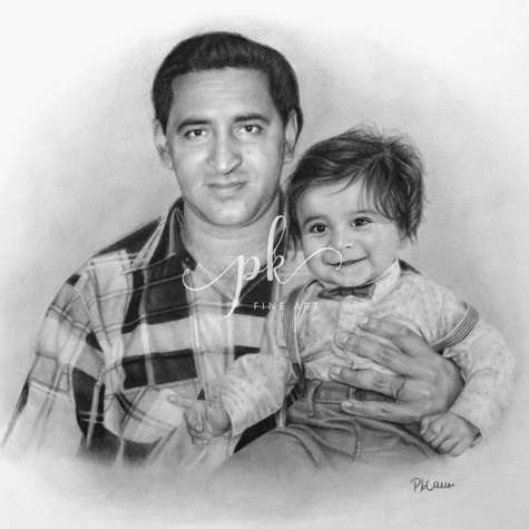 Realistic pencil drawing of man holding