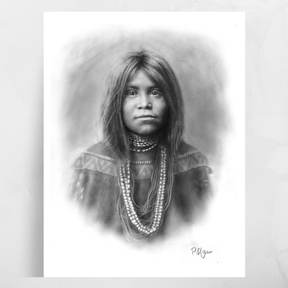 'Native American Girl' Luster Print