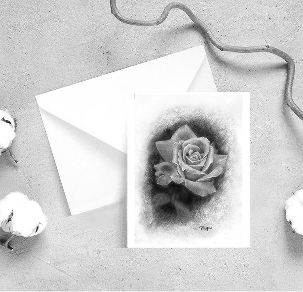 Single Rose Satin Greeting Cards