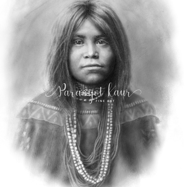 Realistic portrait drawing of a young Native American Girl in traditional garb