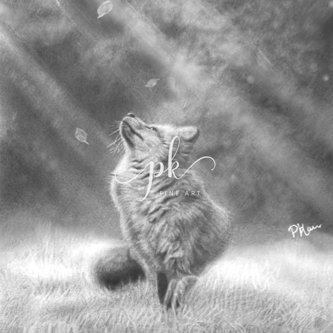 A pencil drawing of a fox in an Autumn setting, with leaves falling and rays of sunshine shining through trees