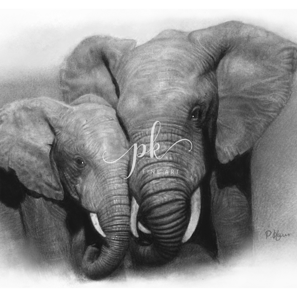 Hyperrealistic pencil drawing of a mother and baby African Elephant