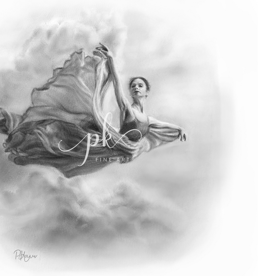 Drawing of a ballerina flying through the sky in a dress