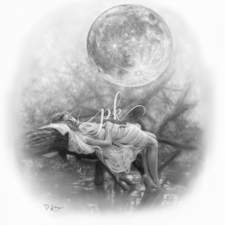 Drawing of a woman lying in the woods beneath the moon