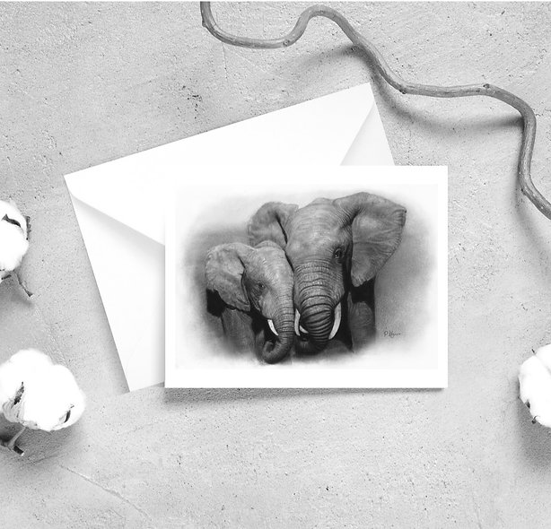 'African Elephants' Satin Greeting Cards