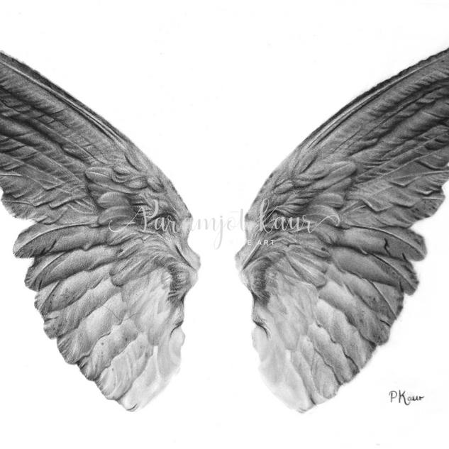 A hyperrealistic pencil artwork of symmetrical angel wings
