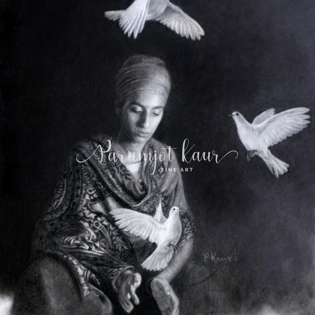 A graphite and charcoal drawing of a Sikh woman in a shawl letting go of doves