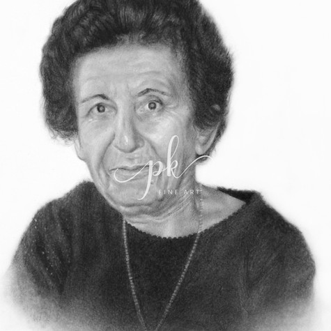 A hyperrealistic pencil drawing in memory of an elderly woman