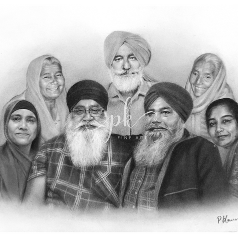 Hyperrealistic pencil drawing of a Sikh family by Paramjot Kaur