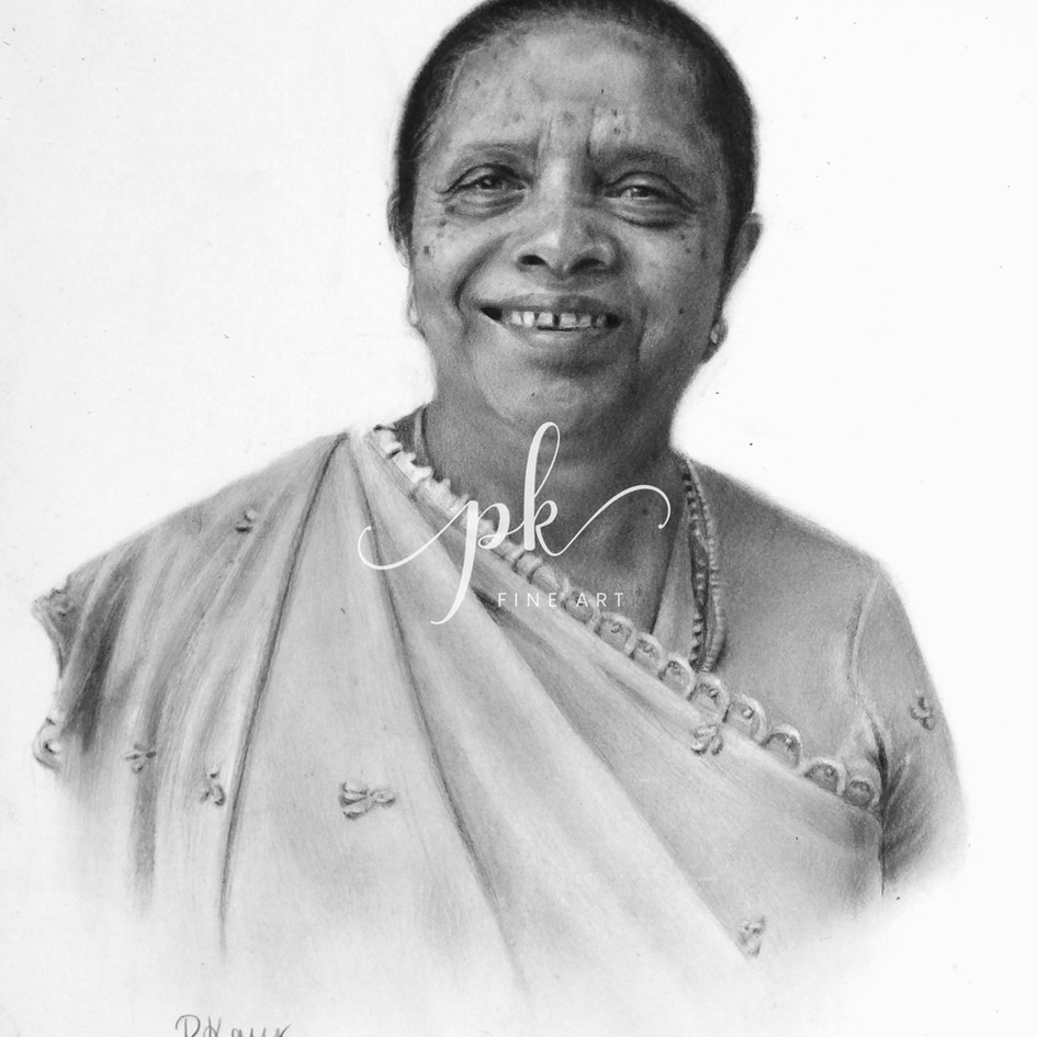 A hyperrealistic drawing of a smiling older Indian woman in a sari