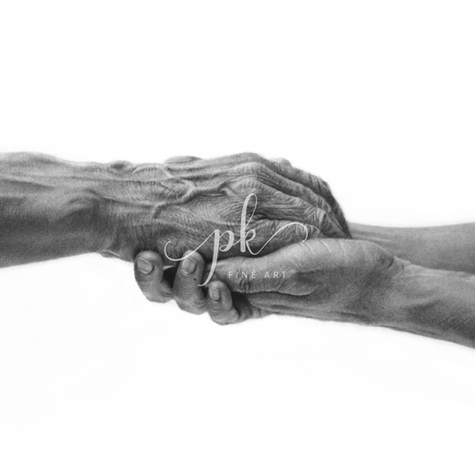 Detailed pencil drawing of caring hands showing a woman holding an old man's hand