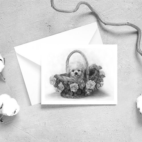 Puppy in a Flower Basket Greeting Cards