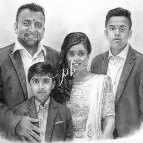 Portrait drawing of an Indian family with two boys