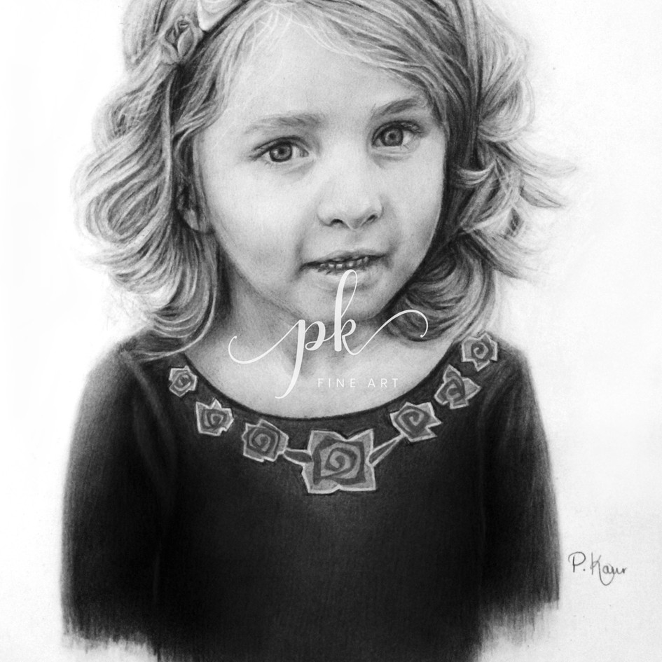 Drawing of a little girl with flowers in her hair