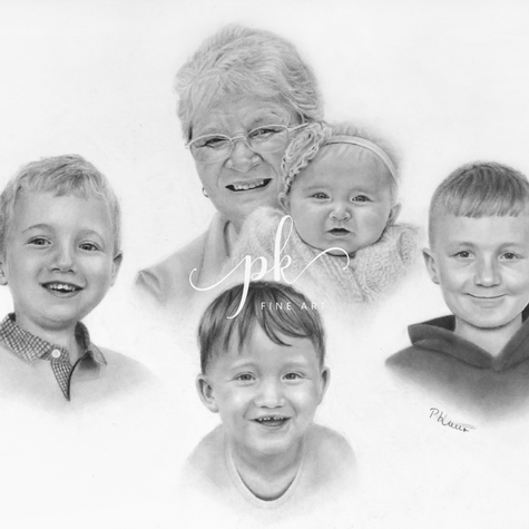 Family drawing of five people, with one baby and three children