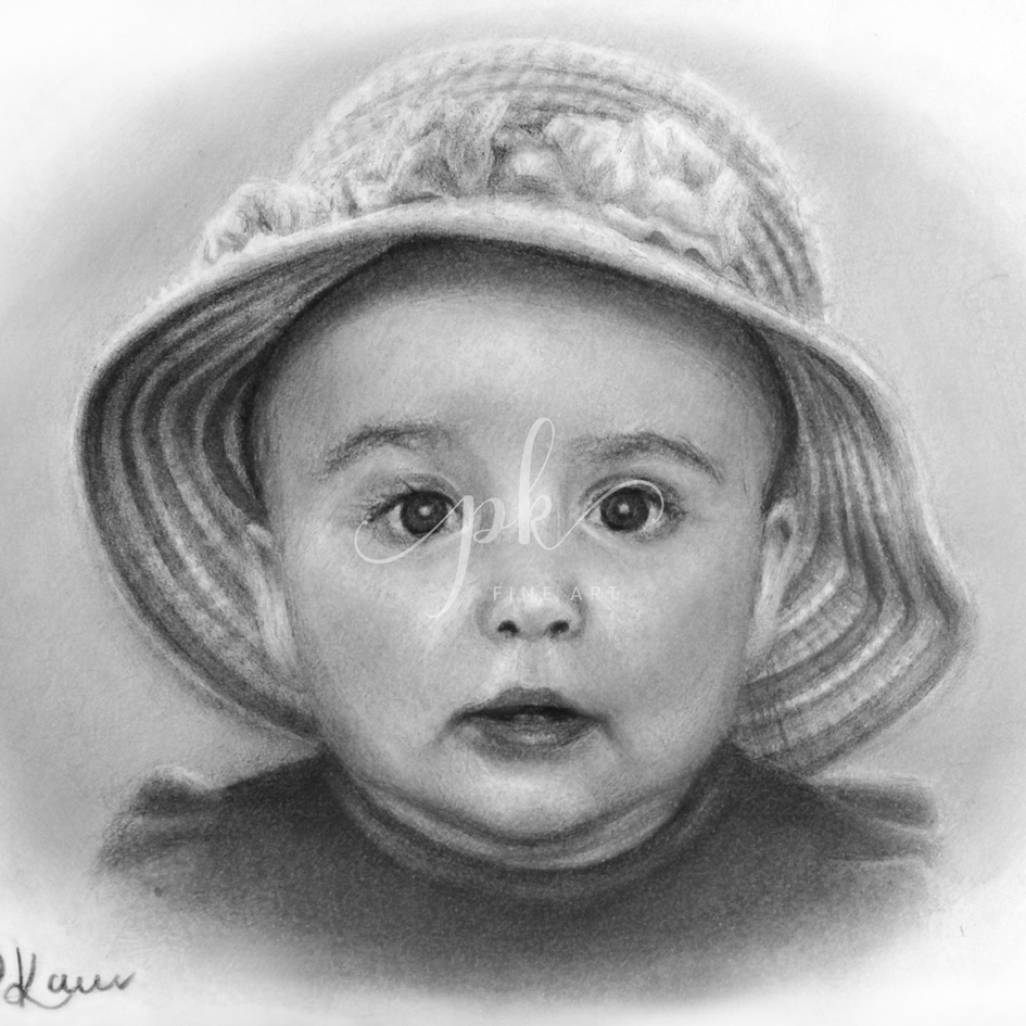 A realistic drawing of a baby girl in a sunhat with flowers