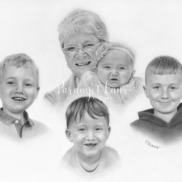Family drawing of five people, with onen baby and three children