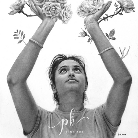 Realistic pencil drawing of a woman becoming a tree, holding roses up in her hands
