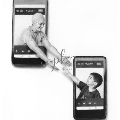 Surreal pencil drawing of a woman reaching out of her phone toward her young grandson