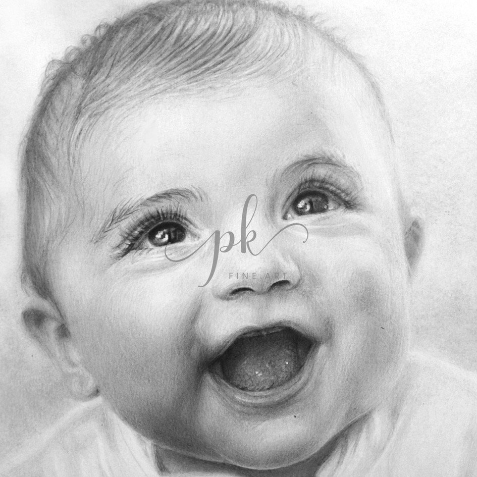 A realistic graphite portrait drawing of a happy baby with lively eyes