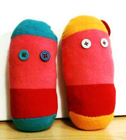 Recycled sock potato dolls