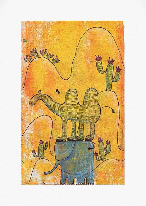 A sensitive camel in the desert