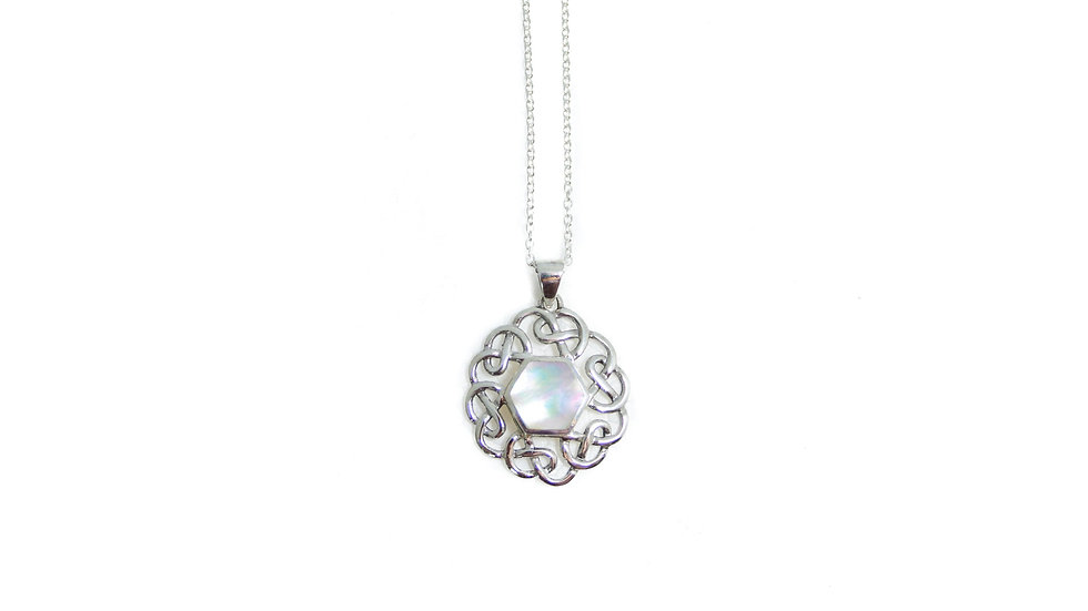 Mother of Pearl Hex Pendant