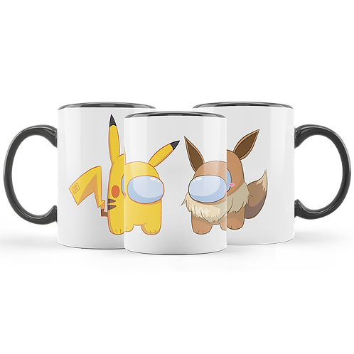 Among Us Pokemon Taza Mug Pikachu Eevee
