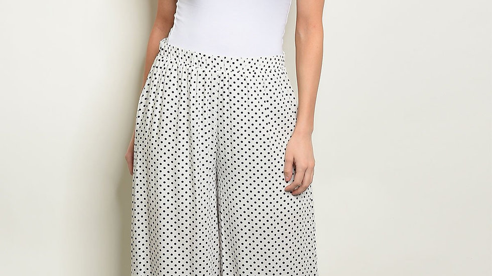 Womens Off White Navy With Dots Pants