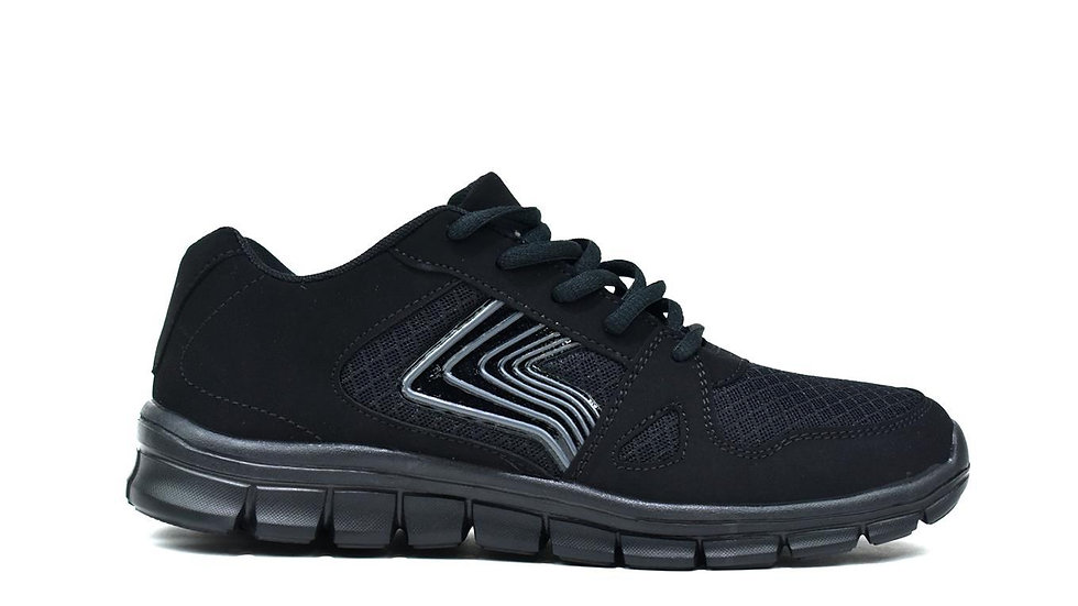 Men's Lightweight Lace Up Trainers Black
