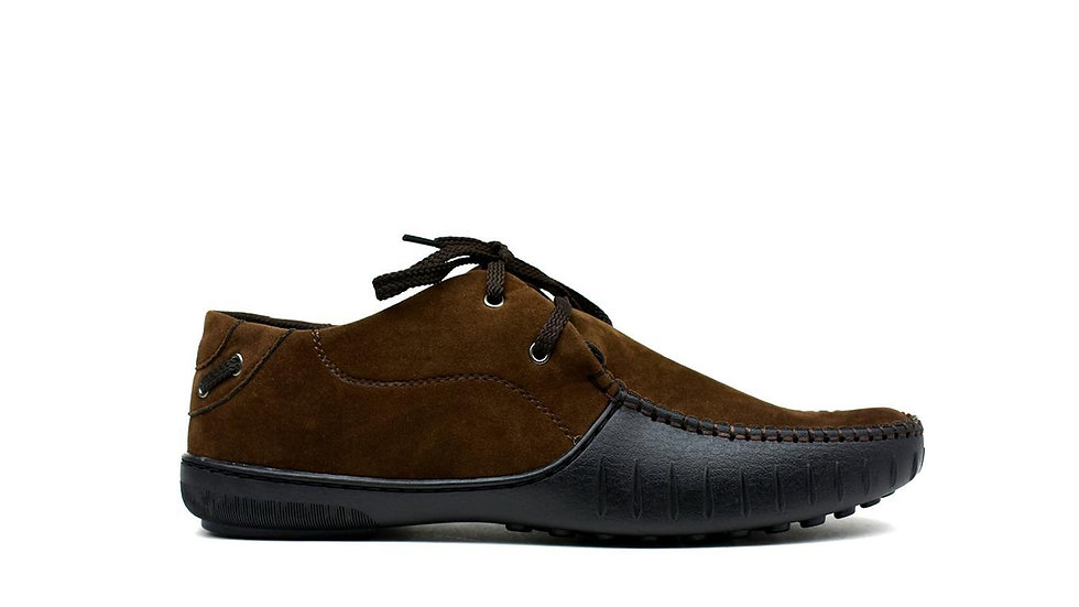 Block Brown Lace Loafers