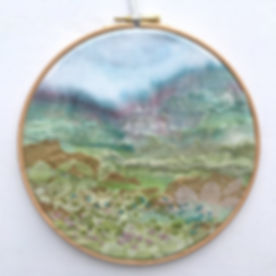 Hand embroidered landscape hoop
