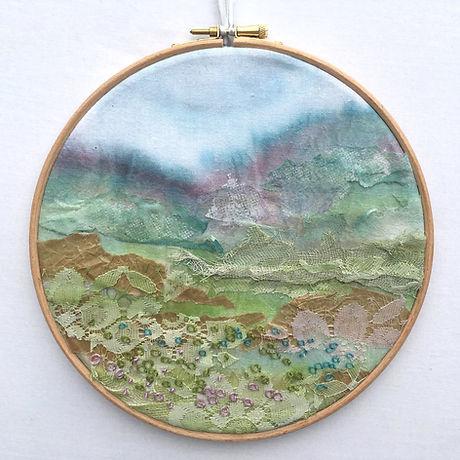 Hand embroidered landscape hoop