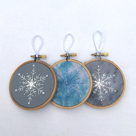 Embroidered christmas hoops x 3