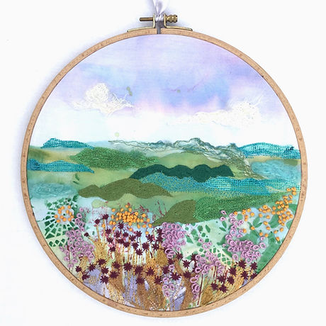 Machine embroidered hoop