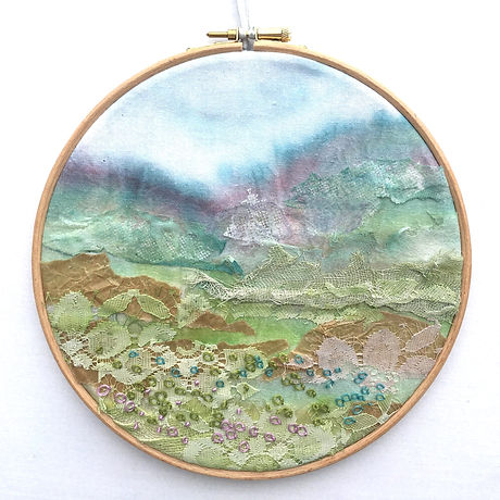 Embroidered landscape hoop