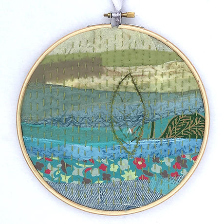 Mindful stitching leaf hoop