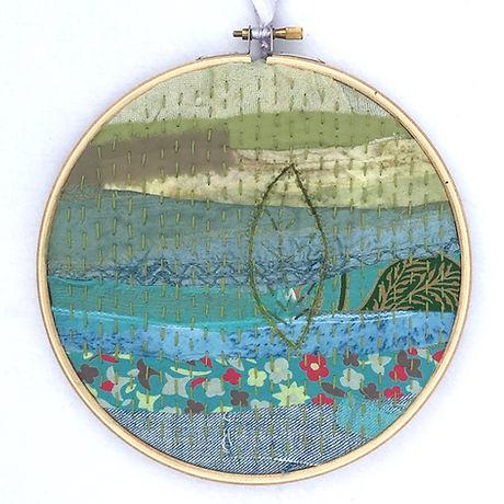 Mindful stitching leaf hoop