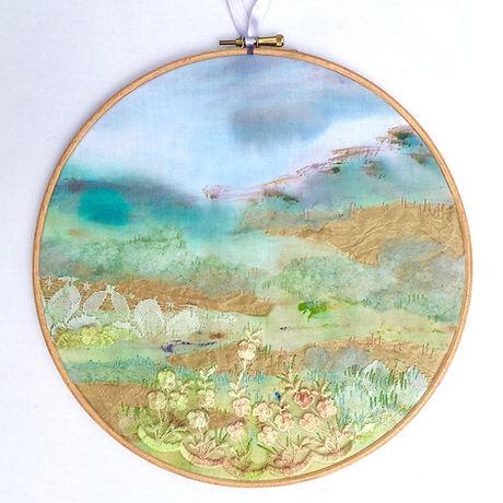 Landscape embroidered hoop