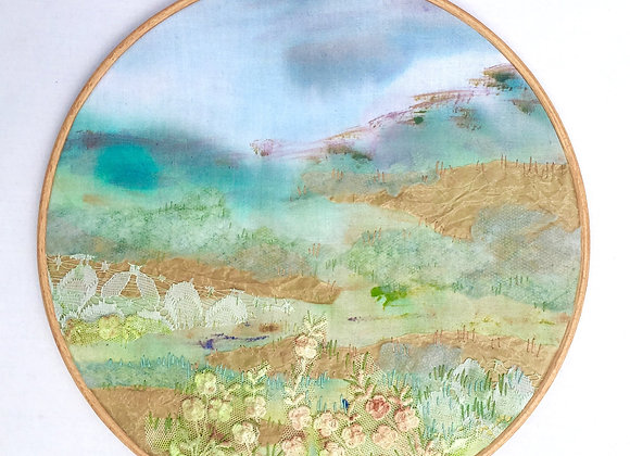 Embroidered  Texured Landscape Hoop