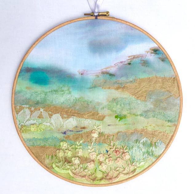 Embroidered landscape hoop