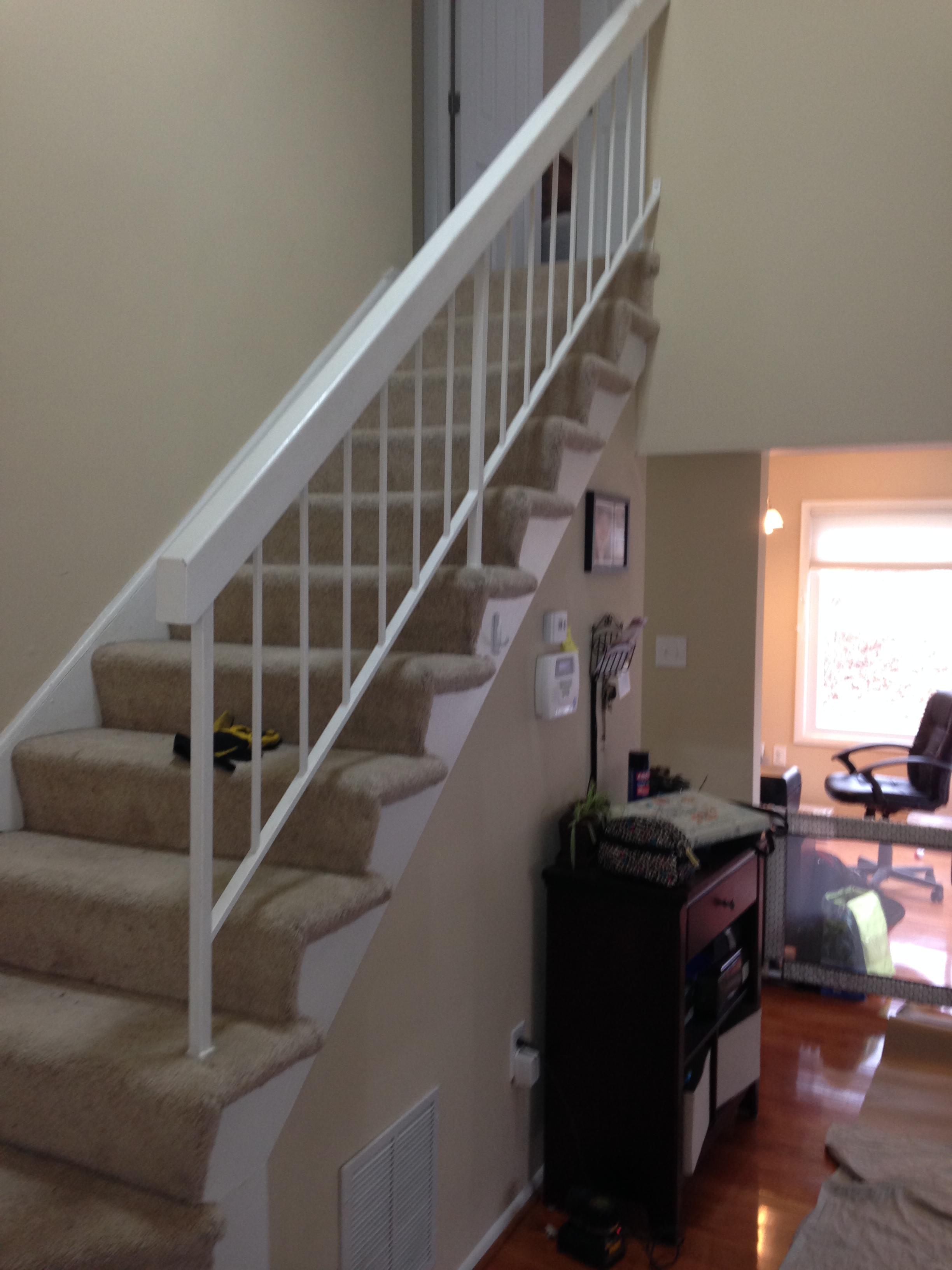 Stairway railing before renovation