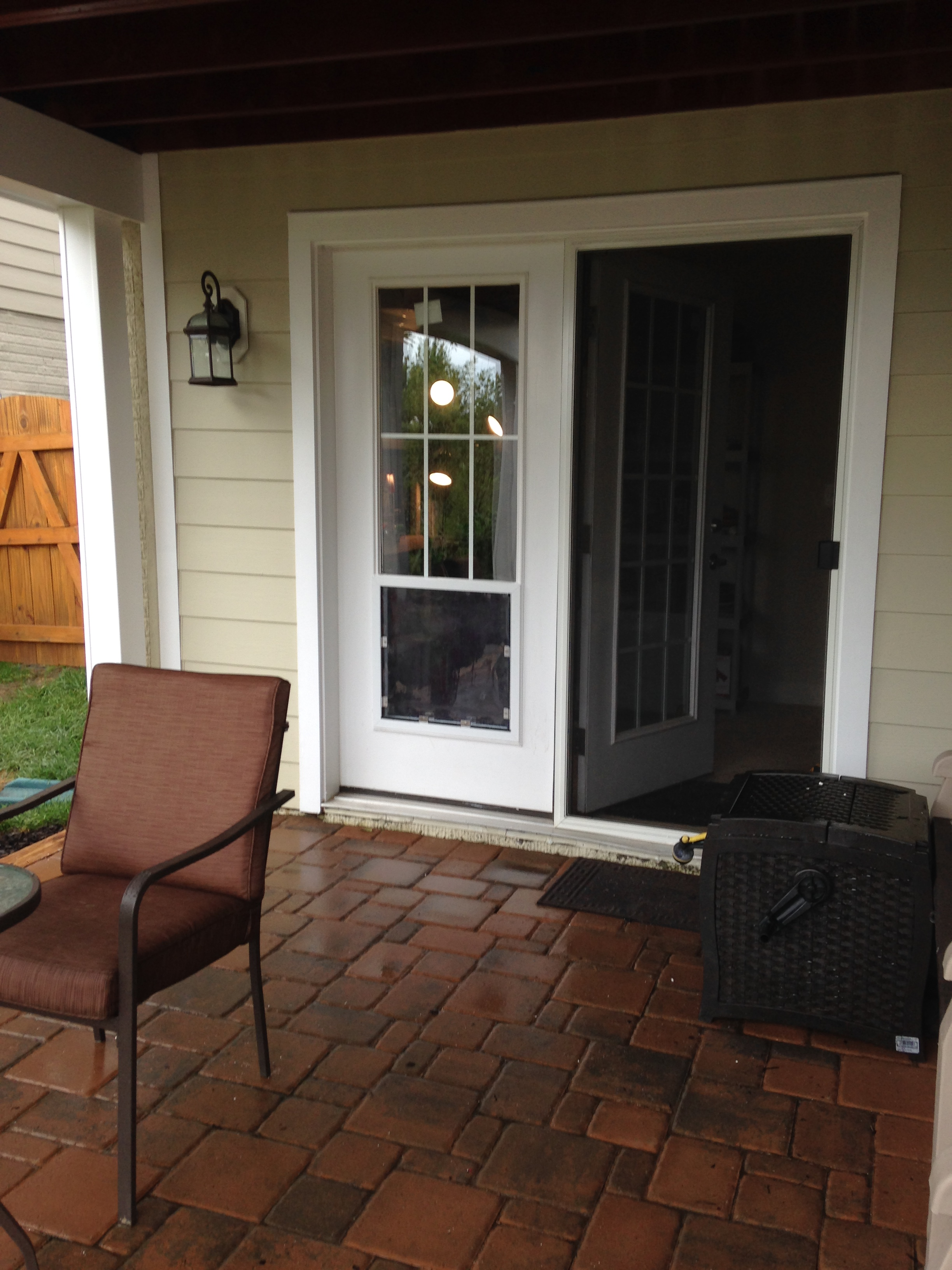 Exterior, doors post pet door instal