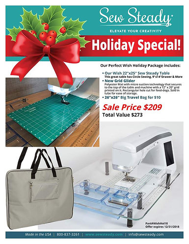 "Sew Steady Wish 22""x25"" Sewing Machine Extension Table HOLIDAY SPECIAL Package"