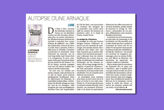 """La Mythomane du Bataclan"" dans Le Monde"