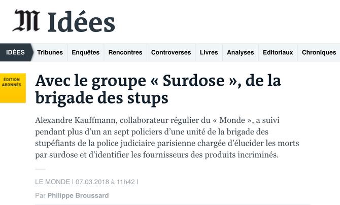 """La chronique de """"Surdose"""" dans Le Monde"""