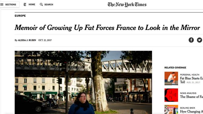 """Gabrielle Deydier et """"On ne naît pas grosse"""" dans le New York Times"""