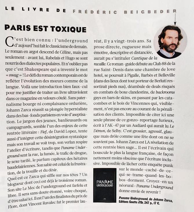 """La chronique de Frédéric Beigbeder sur """"Paname Underground"""""""