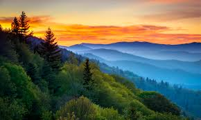 Sunrise in the Great Smoky Mountain National Park, Appalachian Mountains