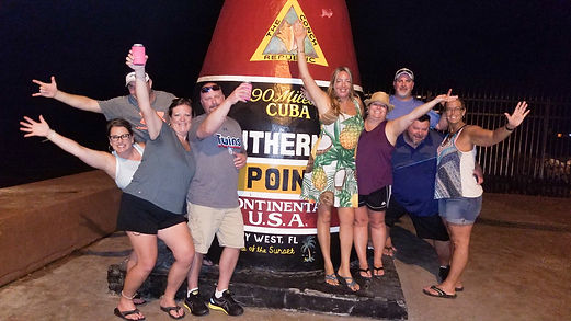 Tour Group from Marathon at Southernmost Point in Key West